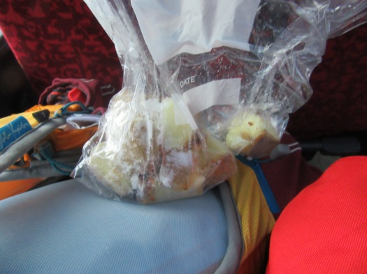 a bag of chunks of mashed potato