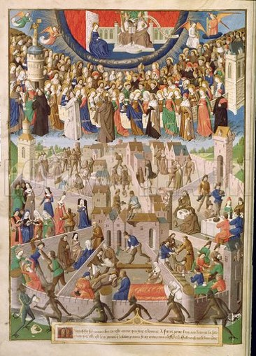 mediaeval picture of the citizens of Augustine's City of God